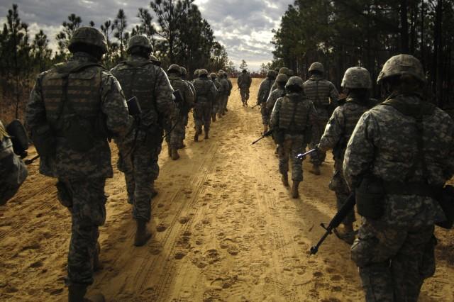 Recruits go on patrol during basic training at Fort Jackson, S.C.