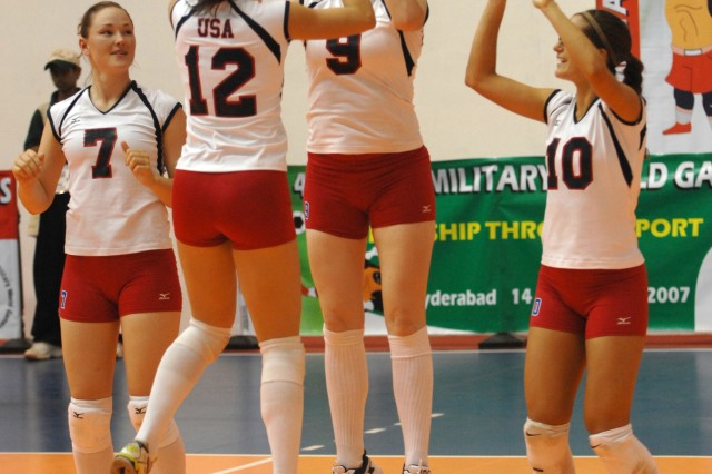 The U.S. Womens Volleyball team gets fired up before a match against the Netherlands.