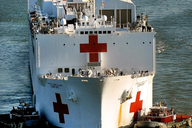 The Military Sealift Command hospital ship USNS Comfort arrives at Naval Station Norfolk, Va., Oct. 15, after a four-month humanitarian deployment to 12 countries in Latin America and the Caribbean. Army medical and civil affairs personnel, as well as those from the other services, participated.