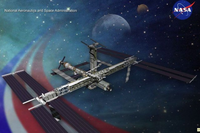 The mission includes delivering equipment to the International Space Station, shown here.