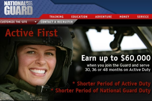 """The top portion of the National Guard """"Active First"""" Web site is shown here."""