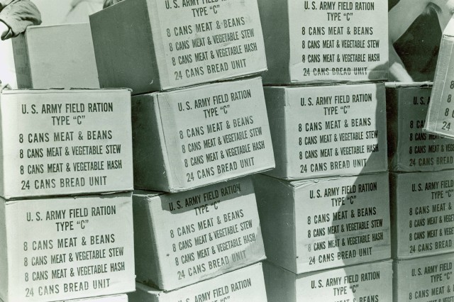 Boxes of Field Ration C awaiting shipment to soldiers in the field.  (Source: QM Food Rations Photograph Collection).