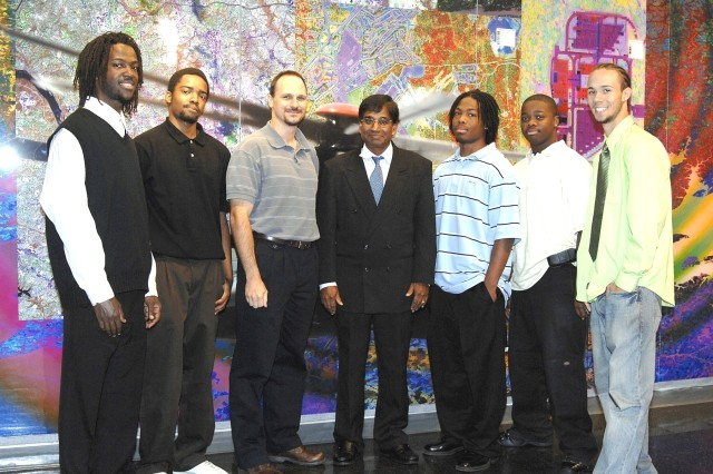 Students from Edward Waters College who spent the summer at ARL are, from left, Larry Bryant, Omar Scott, Damari Gupton, Demarcus Newton and Charles Piccioni. Greg Brill, third from left, ARL point of contact, and Dr. Nakamuthu Sundaraling, program director, are also pictured.