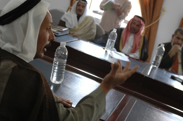 """During an Oct. 24 reconciliation meeting between the Tamimi and Jibouri tribes in Diyala province, Iraq, Sheik Salah al-Jibouri, a key tribal leader for the Jibouri tribe, speaks about the need """"to stand together as men and stop supporting al-Qaeda."""" The meeting, hosted by Diyala's governor, discussed the impact and influence the tribes have in the province as the two largest."""