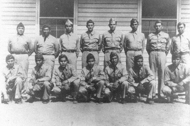 Front Row, left to right: Roderick RedElk, Simmons Parker, Larry Saupitty, Melvin Permansu, Willie Yackeschi, Charles Chibitty and Willington Mihecoby.  Back Row, left to right: Morris Sunrise, Perry Noyebad, Ralph Wahnee, Haddon Codynah, Robert Holder, Albert Nahquaddy, Clifford Ototivo and Forrest Kassanavoid. (not pictured: Elgin Red Elk and Anthony Tabbytite)""