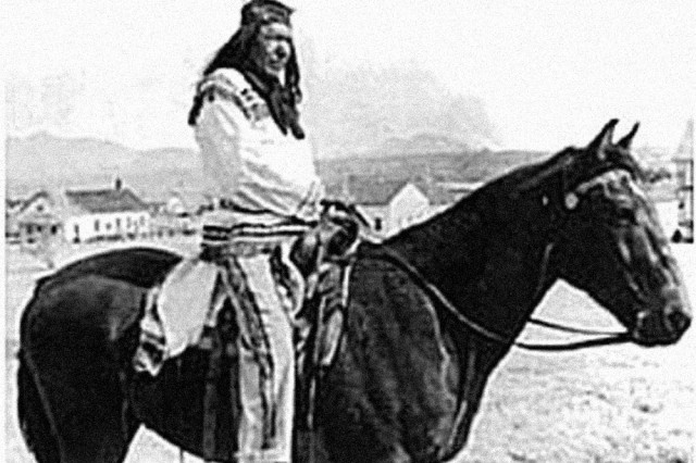 Apache Scout Kessay mounted on the parade field, in the early 1940s.""