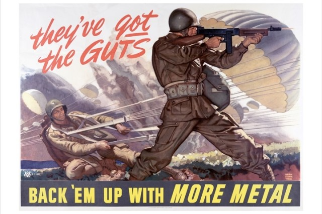 The courage of airborne soldiers was invoked in this World War II poster to encourage American citizens to donate scrap metal to the war effort.