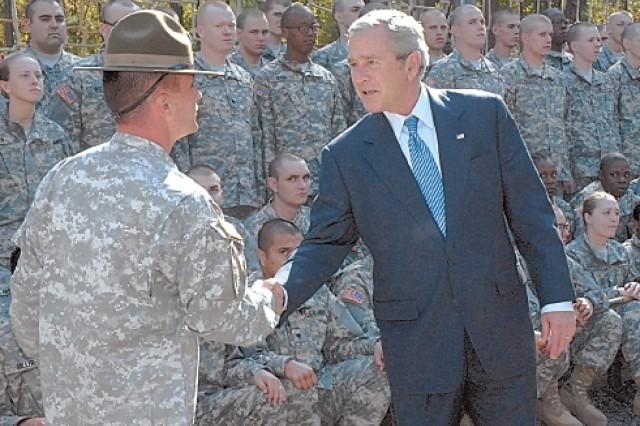 President Bush, Nov. 2, at Fort Jackson, S.C.