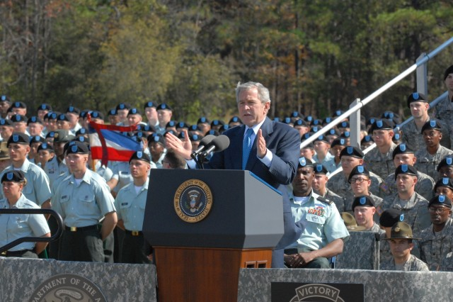 President George W. Bush addresses graduating Soldiers, family members and the Fort Jackson community during Friday's graduation ceremony.