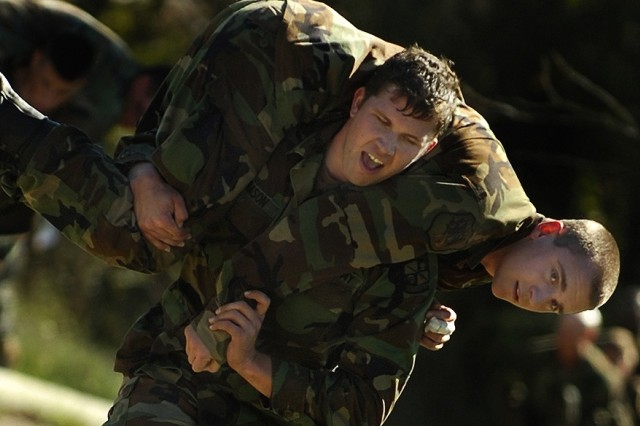 Cadets Steven Mason and Stephen Furey compete in the fireman's carry.