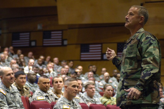 "Command Master Chief William Nissen, U.S. Strategic Command, challenges Sergeants Major Course Class 58 students to ""widen their apertures"" when understanding and operating in today's expanded battle space, during his Nov. 1 talk at the U.S. Army Sergeants Major Academy, Fort Bliss, Texas."
