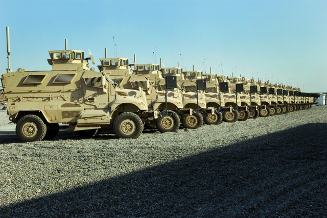 The first shipment of Mine Resistant Ambush Protected vehicles arrived at Camp Liberty in western Baghdad and are being fielded to units who operate in areas with the highest threat levels. These are the first of an estimated 7,000 MRAP vehicles expected in theater by early summer.