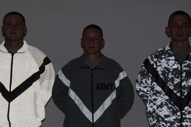 Prototype jackets for the Improved Physical Fitness Uniform with new reflective technologies will be evaluated at Fort Hood and Fort Bliss, Texas, and Fort Lewis, Wash., between November and March. This shows the jackets in lowlight conditions and the below photo is how they appear in daylight.