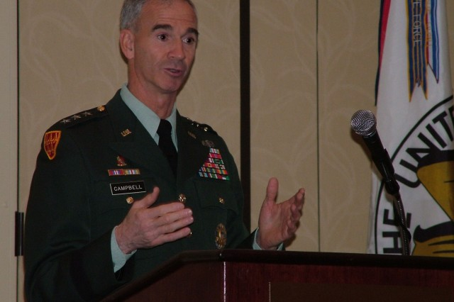 Lt. Gen. Kevin Campbell, commander of the Army Space and Missile Defense Command, speaks at the AUSA Land Warfare Forum Breakfast about SMDC initiatives to help warfighters.