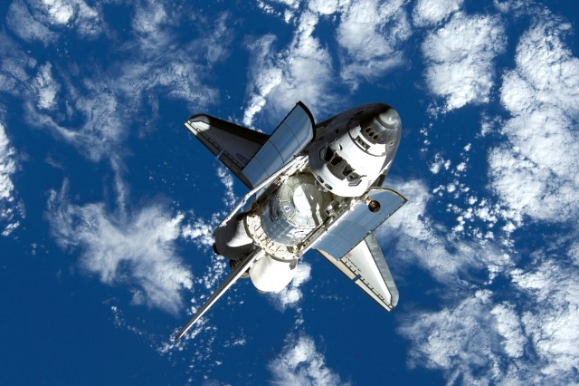 Discovery approaches the International Space Station.