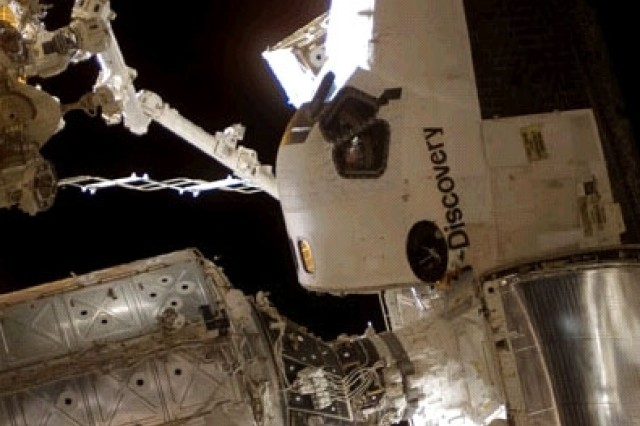 Discovery is docked to the International Space Station Oct. 28.
