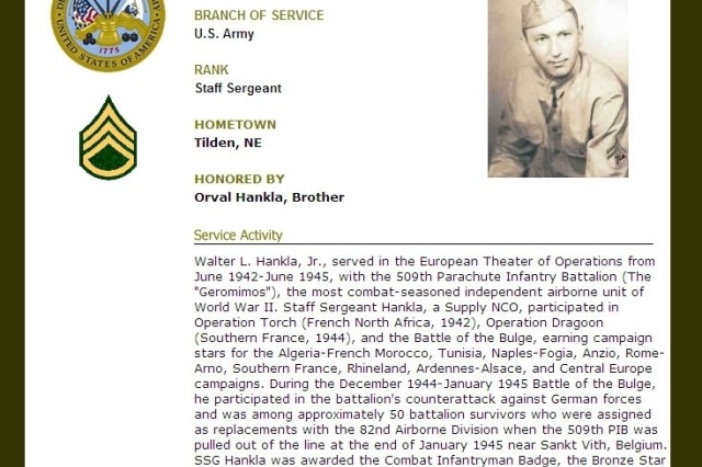 Soldiers may record the details of their Army Service, as in this example, with the Registry of the American Soldier.