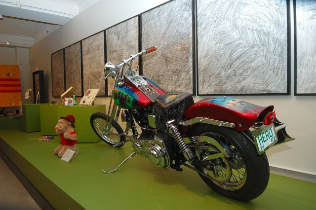 A customized Harley-Davidson was left at the Vietnam Veterans Memorial by a group of veterans who etched the names of 37 Wisconsin servicemembers who have been unaccounted for in Vietnam. The bike is on display at the Vietnam Memorial Exhibit through Memorial Day 2008.