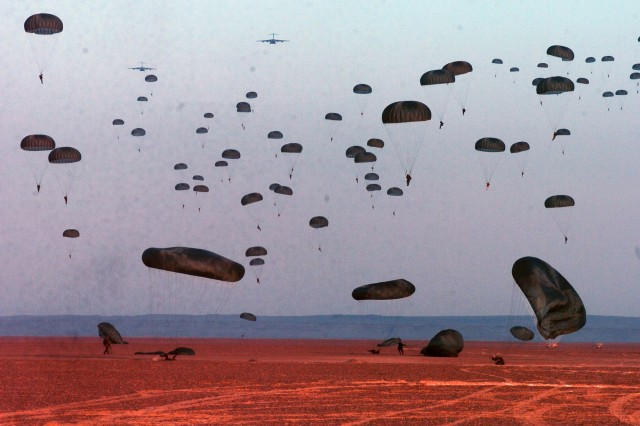 Paratroopers from five nations descend onto Koum Asheem drop zone in Egypt as part of Exercise Bright Star.