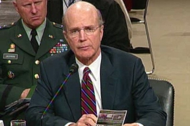 The Honorable Pete Geren, Secretary of the Army, testifying before the Senate Armed Services Committee on the Army's strategic imperatives.
