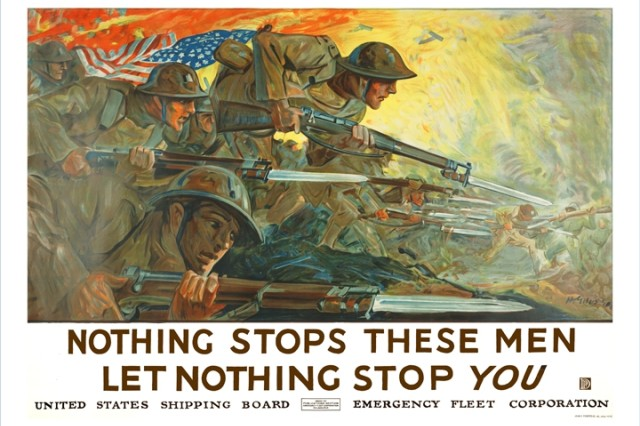 This poster by artist H. Giles illustrates the strength of our Nation, the American Soldier, rushing into battle and at the same time it appeals to an American People encouraging them to support our troops and to make a difference in the Great War effort. (Army Heritage & Education Center Poster collection).