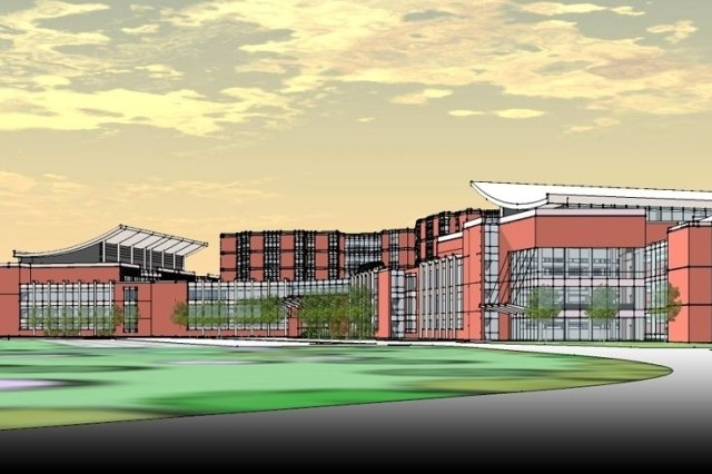 Architectural rendering of the new hospital being constructed at Fort Belvoir, Va. With the Bethesda Naval Medical Center, the new hospital is expected to become the center of gravity for defense medical care in the National Capital Region.