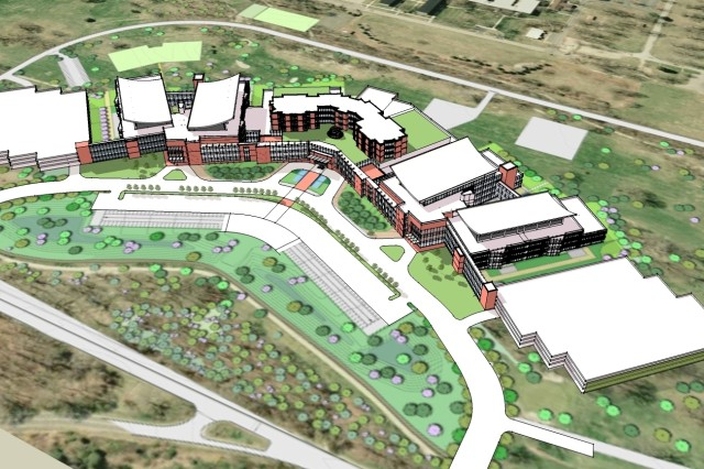 Architectural rendering shows the new hospital under construction at Fort Belvoir, Va. With the Bethesda Naval Medical Center, the new hospital is expected to become the center of gravity for defense medical care in the National Capital Region.