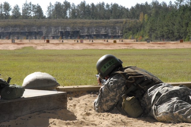 Pfc. Gregory Snow, Co. C, 2nd Bn., 13th Inf. Reg., practices his marksmanship skills Nov. 1 at Lomah Range.