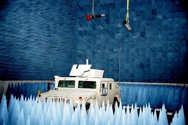 A Humvee parked inside an anechoic chamber in the new Electromagnetic Vulnerability Assessment Facility.