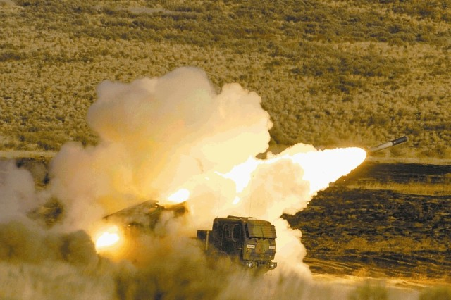 The First Round Battalion fires the HIMARS, which mounts on the Army's five-ton truck chassis and carries a pod of six rockets instead of two pods like the Multiple Launch Rocket System.