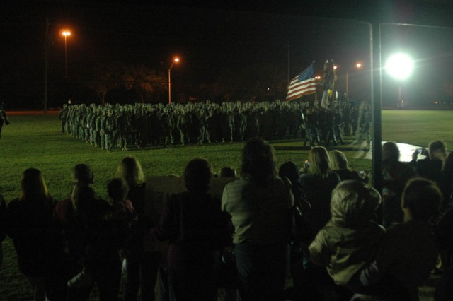 Soldiers with the 1st Cavalry Division, who served a 15-month deployment in Iraq, march across Cooper Field at Fort Hood, Texas during a homecoming ceremony, Nov. 21. After the brief ceremony they were released to their families.