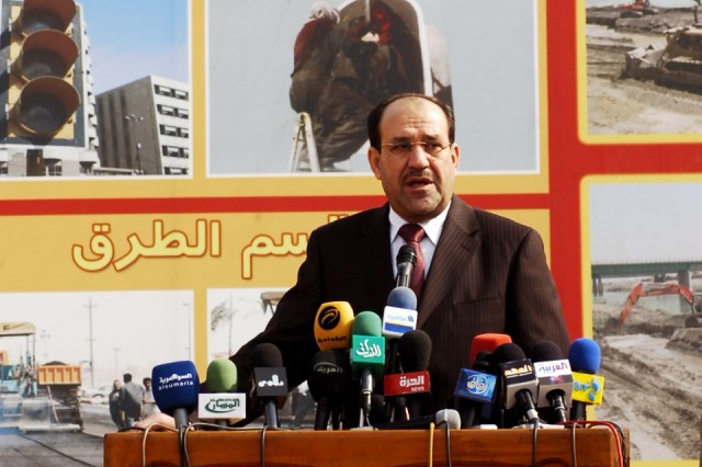 Iraqi Prime Minister, Nouri Al-Maliki, addresses a large crowd at Zawra Park during the Baghdad Day celebration, Nov. 17.