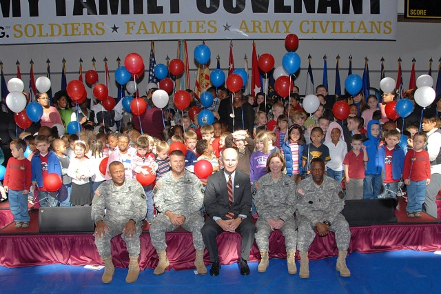 Secretary of the Army Pete Geren (middle, front) sits with the senior leadership at Fort Myer, Va., after signing the Army Family Covenant, Nov. 6.