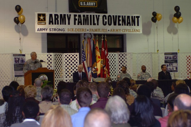 Gen. William S. Wallace, TRADOC commanding general, speaks during the Army Family Covenant signing ceremony at Fort Monroe, Va., Nov. 29.