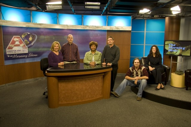 Anniston Army Depot's Morning Show took on a new look Nov. 14 with the first broadcast in the newly renovated studio. The Morning Show staff, shown here, include (l-r) Sue Turton (Safety), Mark Cleghorn (DOIM), Clester Burdell (PAO), Stan Bobo (DOIM), Jeremy Guthrie (DOIM), and Miranda Myrick (PAO).