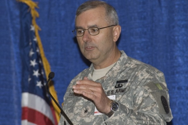Brig. Gen. Michael S. Tucker, named Army assistant surgeon general for warrior care and transition, speaks during a meeting of the Association of the United States Army last month. Photo by /Army News Service.