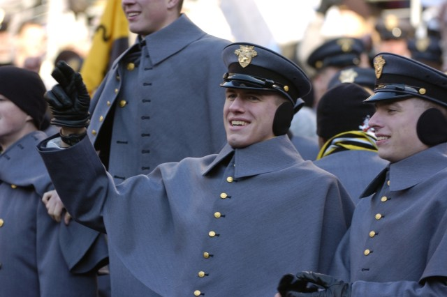 Cadets from the US Military Academy cheer on the Black Knights football team during the 108th annual Army Navy football game in Baltimore, Md. Dec 1, 2007.