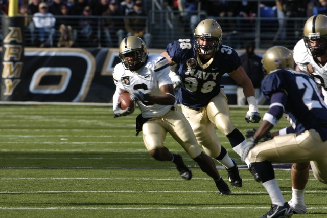 Army wide receiver Corey Anderson from Tampa, Fla. returns a punt during the 108th annual Army Navy football game in Baltimore, Md. Dec 1, 2007.