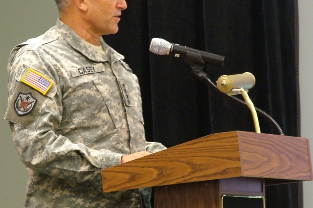 Chief of Staff of the Army Gen. George W. Casey Jr. speaks to Soldiers and Families at Fort Knox, Ky., before signing the Army Family Covenant. A member of the Army Family for 59 years, he is committed to supporting Families.