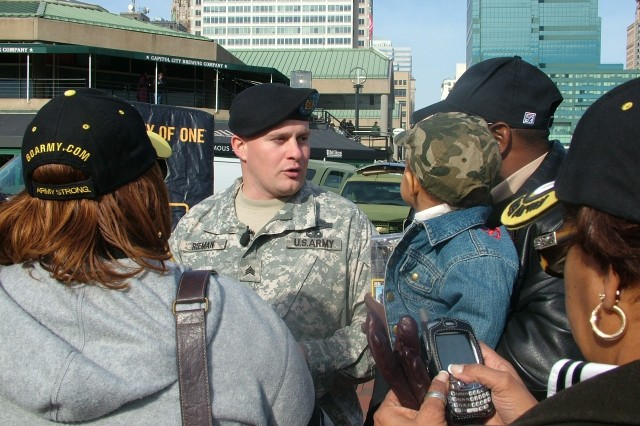 Sgt. Rieman says he enjoys telling the Army story to the public.