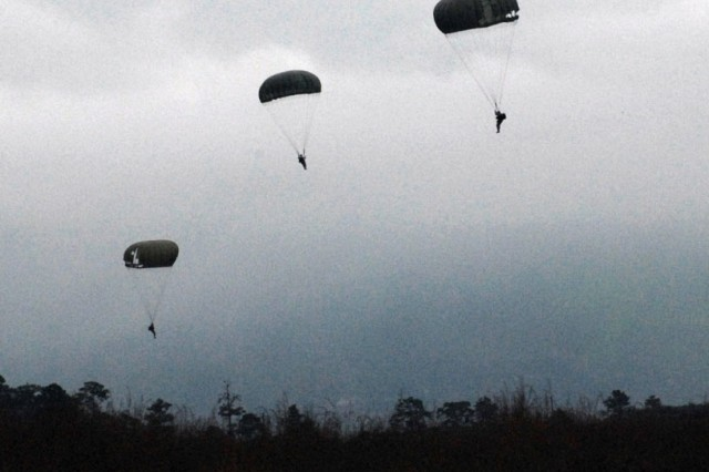 U.S. and Honduran forces prepare to land in the Tamara Drop Zone in Honduras Dec. 8.