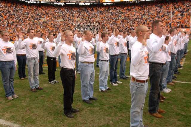 New Citizen Soldiers enlist in the Tennessee Army National Guard during half time at a University of Tennessee-Vanderbilt football game at Vanderbilt University in Nashville, Nov. 17.