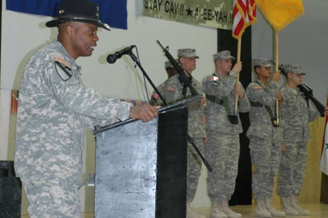 """Colonel Stephen Twitty, commander of the 4th Brigade Combat Team, 1st Cavalry Division gives his remarks during the brigade's transfer of authority ceremony at Forward Operating Base Marez, Iraq Dec. 11.  During the event the 4th """"Long Knife"""" Brigade Combat Team, 1st Cavalry Division transferred responsibility for operations in northern Iraq to the 3d Armored Cavalry Regiment."""