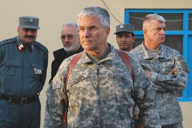 Army Chief of Staff Gen. George W. Casey meets with soldiers from the Afghan Regional Security Integration Command - South, at a forward operating base in southern Afghanistan.