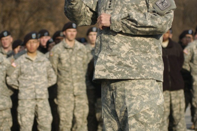 Gen. George William Casey Jr., speaks to the Soldiers of the 2nd Battalion 9th Infantry unit at Camp Casey Dec. 14.