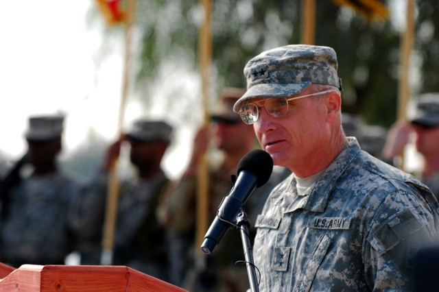 CAMP LIBERTY, Iraq - Maj. Gen. Jeffery Hammond, incoming Multi-National Division-- Baghdad commanding general addresses the multi-national audience during the MND-B transfer of authority ceremony Dec. 19 at Camp Liberty, Iraq.