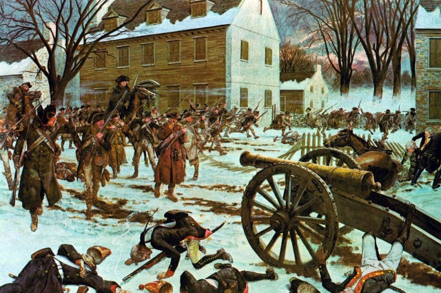 This scene of the Battle of Trenton on the morning of December 26, 1776 depicts Continental soldiers overrunning the Hessian artillery position following a short duel with American artillery. Lieutenant James Monroe, a future president of the United States, was badly wounded during this part of the battle. Firing from behind fences and the insides of buildings the Continentals quickly forced the Hessian garrison to surrender. (From: Soldiers of the American Revolution).