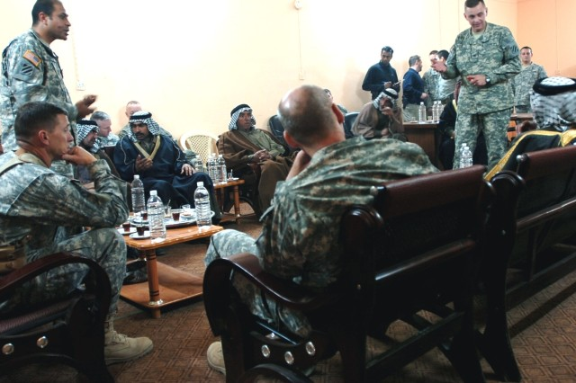 Sheiks from areas surrounding Sayafia spoke with Commanders Col. Terry Ferrell, 2nd Brigade Combat Team and Col. Dan Ball, 3rd Combat Aviation Brigade, 3rd Infantry Division, Fort Stewart and Hunter Army Airfield, Ga., at Forward Operating Base Kalsu, Jan. 4.