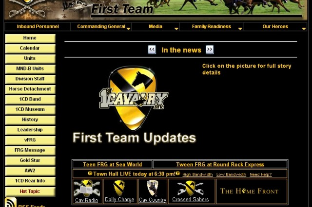 Screen shot of the 1st Cavalry Division website prior to the site being redesigned by Tiffany Nix, the 1st Cavalry Division webmaster.
