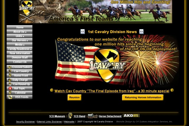 Screen shot of the current home page for the 1st Cavalry Division website. The website has received more than one million hits during the division's deployment to OIF 06-08.